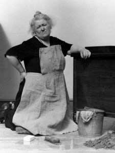 Image result for vintage lady mopping